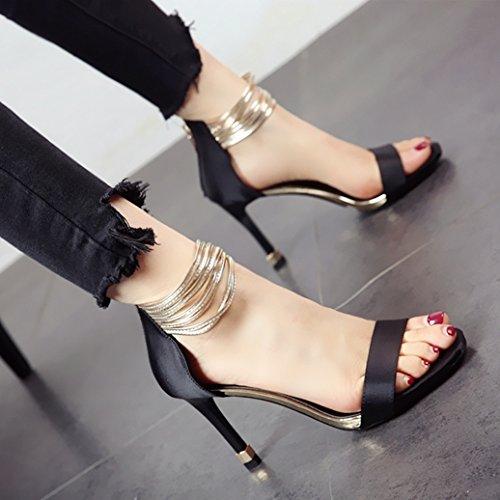 sandali nuova tacchi praticare punta black sottile cava profonda acqua Estate la incavata e sexy tacco alto poco alti YMFIE aperta 5qXS0n7Ux