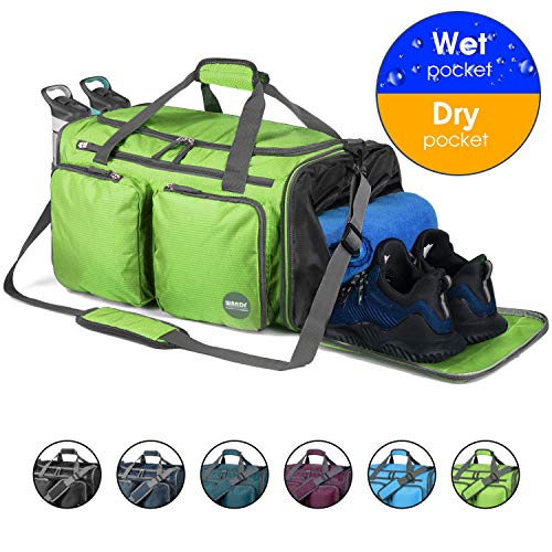 Foldable Sports Gym Bag with Wet Bag & Shoes Compartment, Travel Duffel for Men and Women (Green 316)