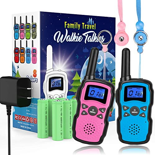 Wishouse Rechargeable Walkie Talkies for Kids with Charger Battery, Two Way Radio Family Talkabout for Adult Cruise Ship Long Range, Outdoor Camping Hiking Fun Toys Birthday Gift for Girls Boys 2 Pack