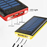 Solar charger Ruipu 24000mah Portable Solar Power Bank With 3 USB Port External Battery Pack Phone Charger With 2 Flashlight and USB Fan For iPhone iPad Samsung HTC Cellphones Tablet And More-Yellow