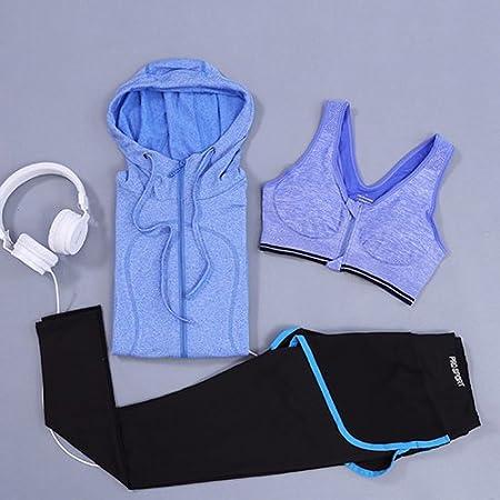 JIANSHENYK Yoga-Set fü r Damen, 3-teilig (Jacke + Hose + BH), Fitness, Fitnessstudio, Trainingsanzug, Kleidung, schnelltrocknend