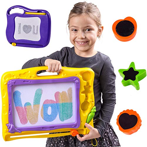 Magnetic Drawing Board For Kids - Erasable Colorful Magna Drawing Doodle Kids Toys; 2 Boards -Magnetic Board Large 15.6 inch- Small 6.7 inch; Writing Sketching Pad - Gift ;Travel Size; ()