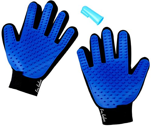 Cat and Dog Grooming Glove - Both Left and Right - Gently Removes Hair - Great for Long and Short Fur - Bonus Teeth Cleaning Tool - Removes Plaque and Food Particles From Your Pets Teeth -
