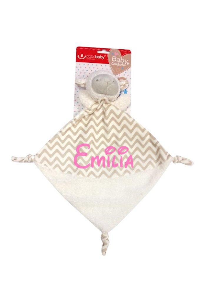 Baby Kuscheltuch mit Namen bestickt (kein Druck) / wunderschöne 3D Motive zur Auswahl - ideal als Schnuffeltuch und Trösterchen (Beige - HUND) KIDDI-MEDIA