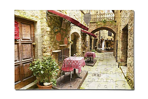 Tuscany, Italy - Alley Restaurant Seating - Photography A-92481 (12x18 Premium Acrylic Puzzle, 130 Pieces)