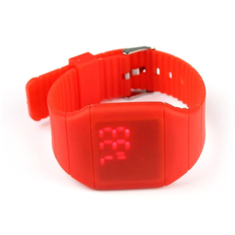 buyeonline Girl Boy防水デジタルLEDタッチスポーツシリコンブレスレット腕時計レッド B06XQWNNM8