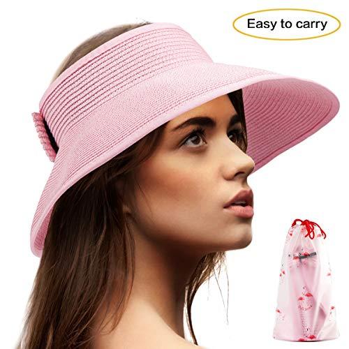 - Wide Brim Sun Hat Women - Pink Visors Women Straw Hat for Beach Visor Hat Ladies