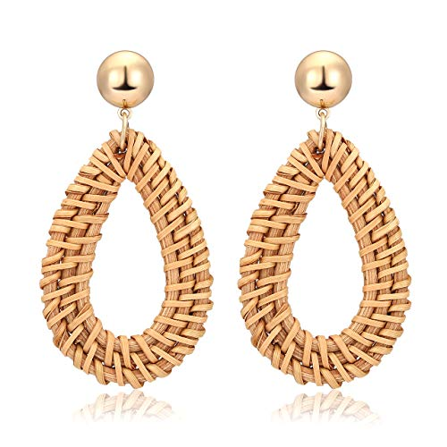 TIKCOOL Handmade Rattan Earrings for Women Straw Teardrop Earrings Statement Dangle Drop Earrings Boho Handmade Jewelry(Teardrop-Dark)
