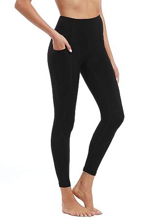 8735d7cc49 Amazon.com: Hopgo Women's High Waist Workout Leggings Power Flex Yoga Pants  Tummy Control 7/8 Sports Tights Side Pocket: Clothing