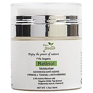 Petra Organics Retinol Cream for Face and Eye Area - 71% Organic - with Retinol, Hyaluronic Acid, Shea Butter & Vitamin E - Advanced Anti Aging Night Cream - Fragrance Free Beauty Face Moisturizer