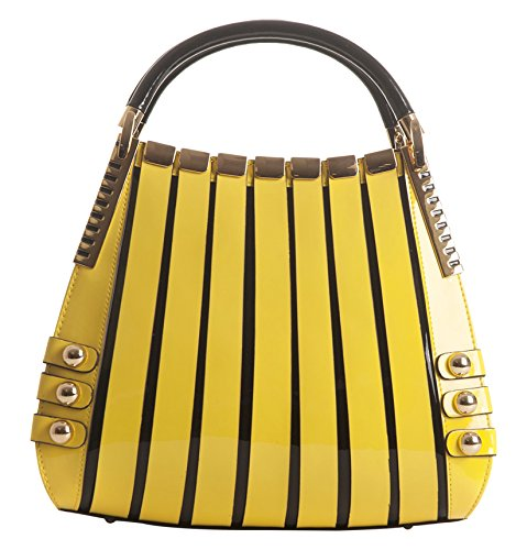 BRAVOHANDBAGS-Womens-Irina-Signature-Series-Gold-Lattice-Print-Medium-Yellow