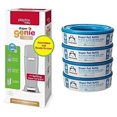 Playtex Diaper Genie Complete Assembled Diaper Pail with Odor Lock Technology & 1 Full Size Refill from Diaper Genie