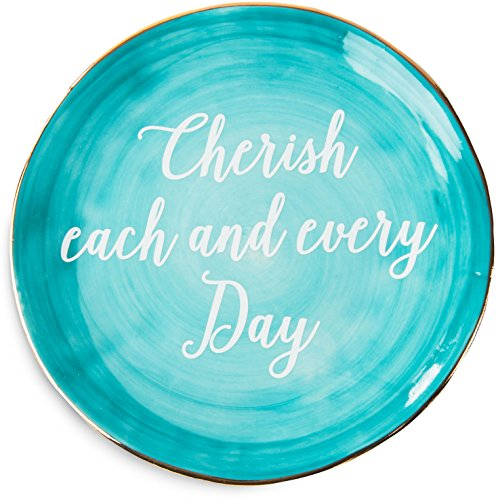 Pavilion Gift Company Emmaline 'Cherish Each and Every Day' Ceramic Decorative Plate, 5', Teal