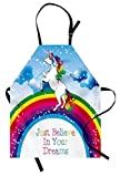 Ambesonne Colorful Apron, Unicorn Surreal Myth Creature on Rainbow Clouds Star Fantasy Girls Fairytale Image, Unisex Kitchen Bib Apron with Adjustable Neck for Cooking Baking Gardening, Multicolor