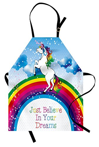 Kids Apron by Ambesonne, Unicorn Surreal Myth Creature before Rainbow Clouds Star Fantasy Girls Fairytale Image, Unisex Kitchen Bib Apron with Adjustable Neck for Cooking Baking Gardening, Multicolor