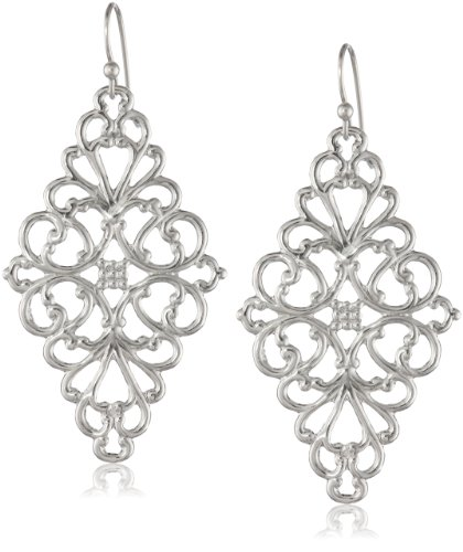 1928 Jewelry Silver-Tone Filigree Diamond-Shape Drop Earrings, 2