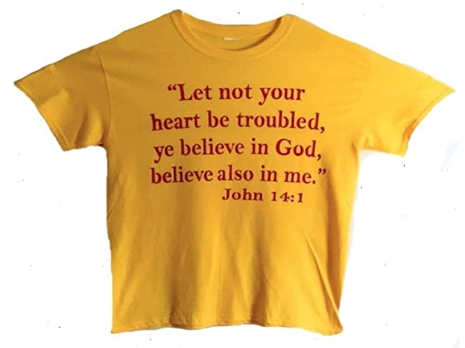 2deef281417f Amazon.com: Christian T-shirt/Bible Verse/Religious T-shirt for Men and  Women/Religious Gift/Jesus Gift/Pastor Gift/Church Gift/(Let not your heart  be ...