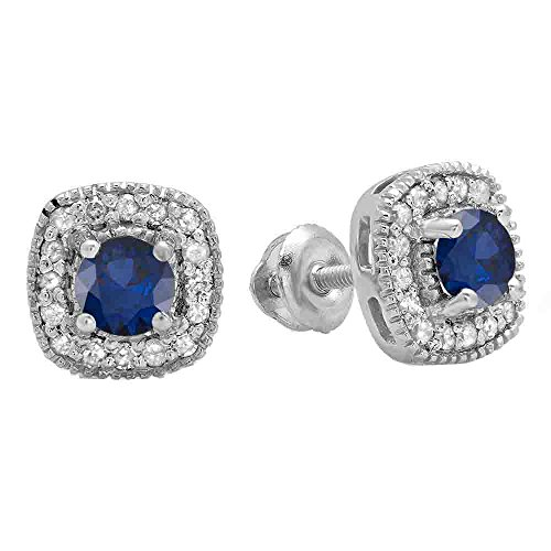 10K White Gold Round Cut Blue Sapphire & White Diamond Ladies Halo Stud Earrings (Round Sapphire Natural Cut)