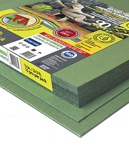 STEICO 3 mm 1/8 Inch Wood Fiber Flooring Underlayment for Laminate Vinyl LVT LVP Hardwood Floor 90 SqFt Natural Sound Insulation Barrier