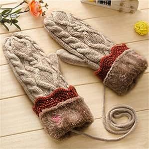 Winter Thicking Mittens Knitted Warm Halter Wrist Gloves