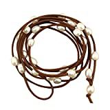 Long White Cultured Freshwater Pearls on Colored Suede Leather Cord Wrap Necklace/bracelet for Women