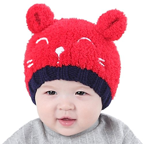 Gotd Baby Girls Boys Kids Toddler Knit Cap Warm Earflap Hat (Red)
