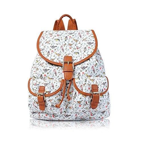 NUEVO Lienzo pájaros Impresión Mochila Niñas Bolso de escuela College & Mochila de viaje bolsa de hombro Multicolor - blanco