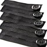 5-Premium Black Elastic Pants Extender (Plus 2-BONUS Metal Pant Extenders) - Perfect for 1 Inch to 2 Inches of Extra Breathing Room, Fits Men or Women