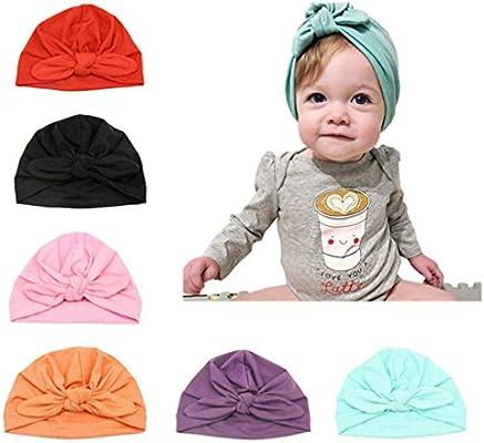 Newborn Baby Solid Color Elastic Cotton Beanie Cap Infant Turban Hat Bump