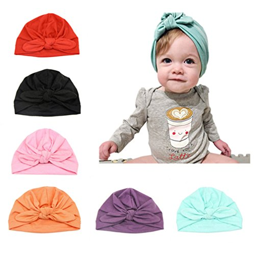 CANSHOW 6 Pcs Baby Hat Girl Newborn Beanie Cute Soft Cotton for Infant Girl Turban 3-12 Months ()