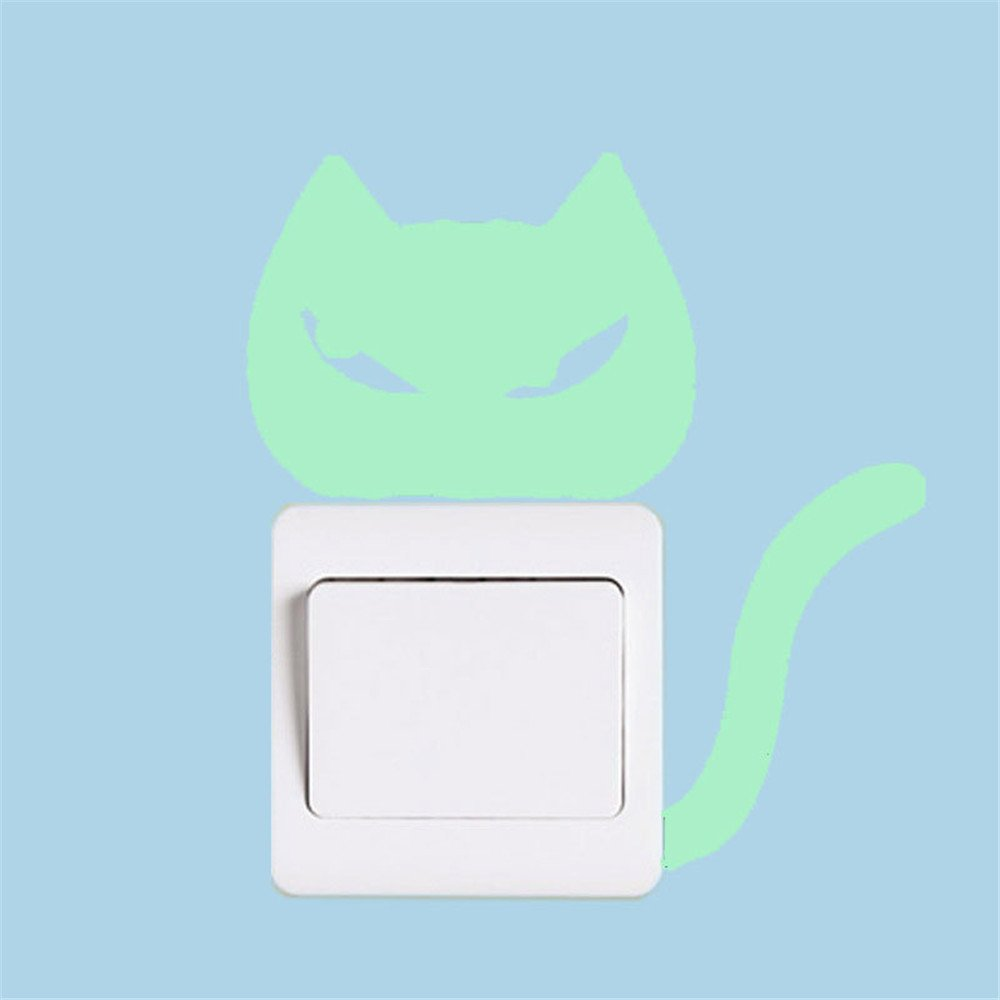MEANIT KNDDYY Cute Creative Cartoon Animal Cat Luminous Noctilucent Glow Light Switch Outlets Vinyl Decal Sticker Decor