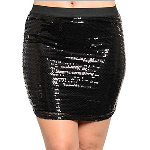 8810 - Plus Size Full Allover Embellished Sequins Slim Mini Club Skirt Black (3X)