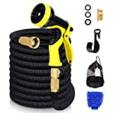 WeHome 50ft Garden Hose, Expandable Water Hose with Double Latex Core and Solid Brass Connectors with 9 Functions Spray Nozzle for Home, Garden, Car Washing and Heavy Duty (Black)