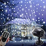 AIDERLY Indoor Outdoor LED Christmas Lights Snow Projector Waterproof IP65 Security Timer Snowfall Light with Remote Controller for Santa Christmas Halloween Festival Wedding Birthday Party (Black)