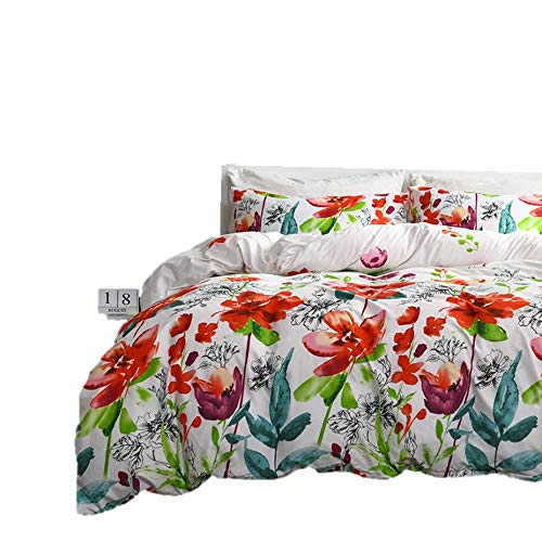 Spring Meow Duvet Cover Set Floral Color King Comforter Cover with Incredibly Soft and Lightweight, 3-PCS(1 Duvet Cover + 2 Pillow Shams) (Floral, King)