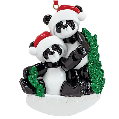 Personalized Bamboo Panda Bear Family of 2 Christmas Ornament for Tree 2018 - Siblings Friends in Santa Hat Holding Hands - Glitter Green Winter Holiday Tradition - Free Customization by Elves (Two)