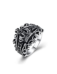ShiningLove Men Titanium Steel Crown Ring Exaggeration Personality Finger Rings