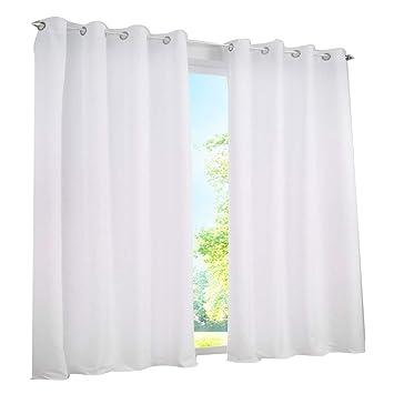 7Morning 2er Set Gardinen Vorhang Blickdicht mit Ösen(ca70-80%) BxH  140x225cm Weiß