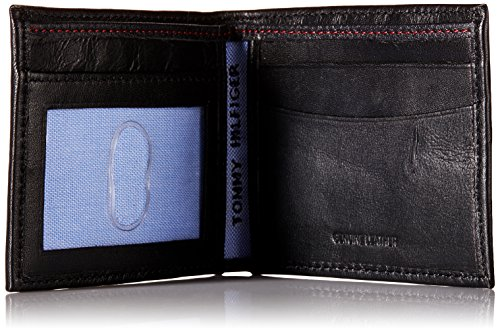 Tommy Hilfiger Men's Leather Slim Billfold Wallet,Black