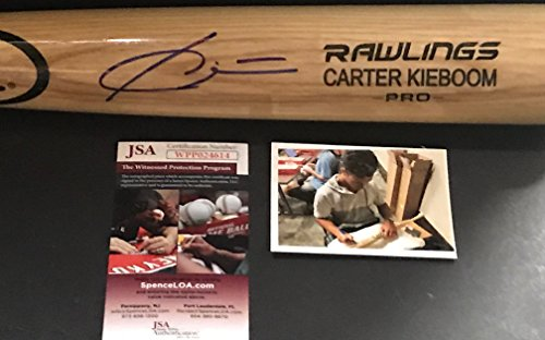 Carter Kieboom Washington Nationals Autographed Signed Blonde Baseball Bat JSA WITNESS COA