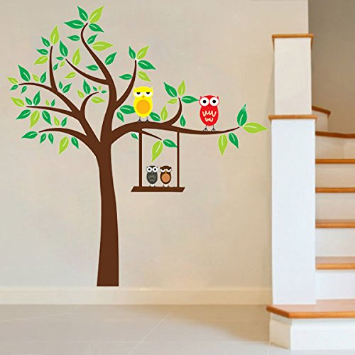Hiquty Cartoon Owl Wall Stickers For Kids Rooms Home Decoration