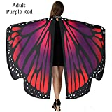Women Butterfly Wings Shawl Festival, Halloween Party, 6653 inch,Polyester, Wear Dress Up Cape,12 styles (Purple Red) Adult Women Butterfly Wings Shawl Festival, Halloween Party 66,53 inch,Polyester,