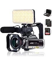 Tiang 4K camcorder met digitale zoom 64 x, aansluiting met telescoop/LED-licht, microfoon en andere accessoires (DV-tas en SD-kaart)