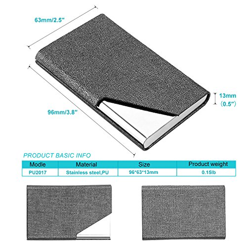 Business Name Card Holder Luxury PU Leather & Stainless Steel Multi Card Case,Business Name Card Holder Wallet Credit Card ID Case/Holder for Men & Women (Gray) Photo #5