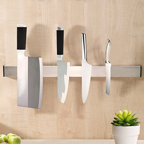 KES SUS304 Stainless Steel Magnetic Knife Rack 16-Inch 3M Self Adhesive Kitchen Utensil Rail, Brushed Finish, KUR201S40-2