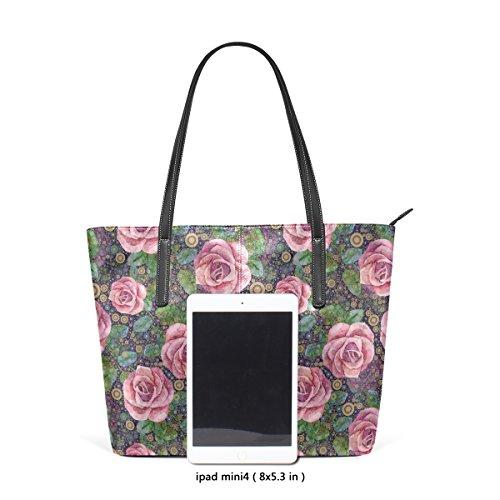 Coosun abstrakte Rosen Kunst PU Leder Schultertasche Handtasche und Handtaschen Tasche für Frauen