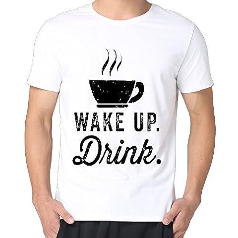 Wake Up, Drink Men Cotton Short Sleeve Vintage T-shirts Tee (Wake Up Frankie)