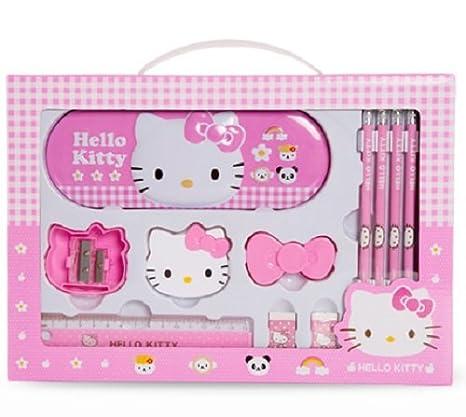 6de7a92c7 Amazon.com : GlobalEdge Hello Kitty School Stationery Gift Set; Includes  Metal Case Box, 5 Pencils, 2 Sharpeners, 2 Erasers, 1 Ruler Plus Bonus DIY  Project ...