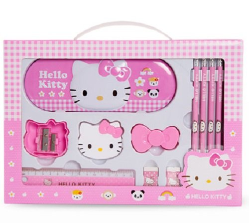 GlobalEdge Hello Kitty School Stationery Gift Set; Includes Metal Case Box, 5 Pencils, 2 Sharpeners, 2 Erasers, 1 Ruler Plus Bonus DIY Project
