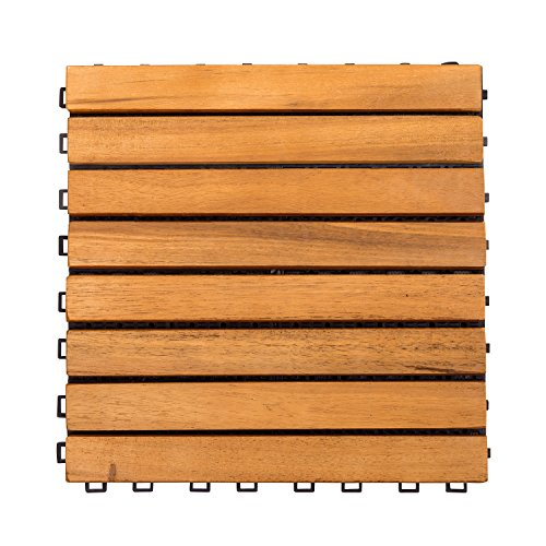 Deck Plantation Teak (VIFAH V355 Interlocking Acacia Plantation Hardwood Deck Tile 8-Slat Design, Teak Finish, 11 by 11 by 1-Inch)